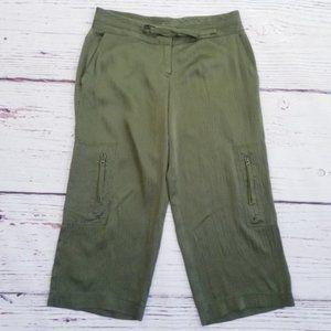 Vintage bebe 100% Silk Green Wide Leg Pants